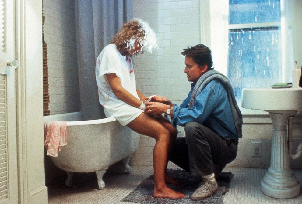 PHOTO: Glenn Close is tended to by Michael Douglas in a scene from the 1987 film Fatal Attraction.