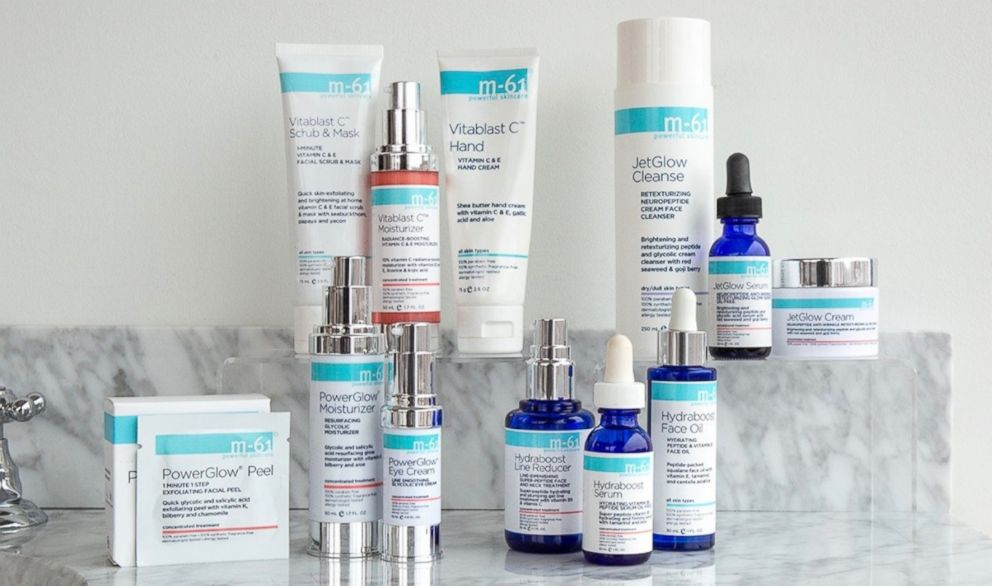 PHOTO: M-61 Powerful Skincare products are pictured here.