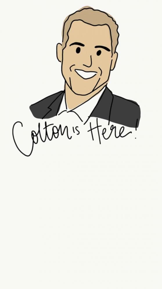 "Illustrator Sarah Baumann captures the drama of each episode of ""The Bachelor"" in her hilarious cartoon recaps. Here, a portrait of contestant Colton Underwood."
