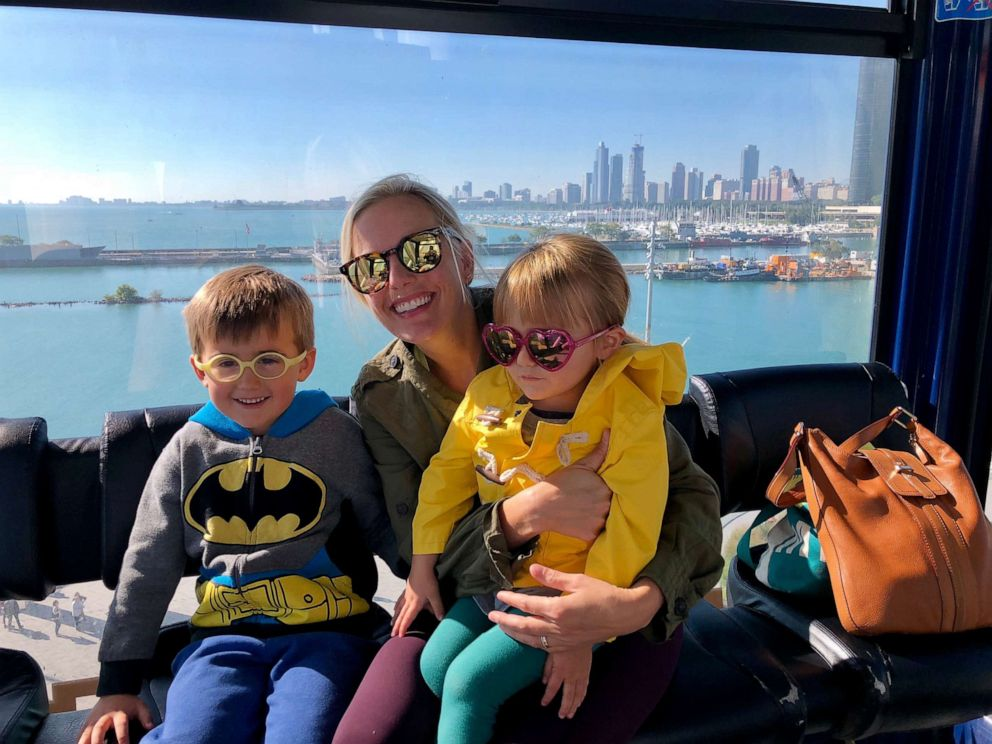 PHOTO: Erin Fowler poses with her children on the Ferris Wheel at Navy Pier in Chicago.