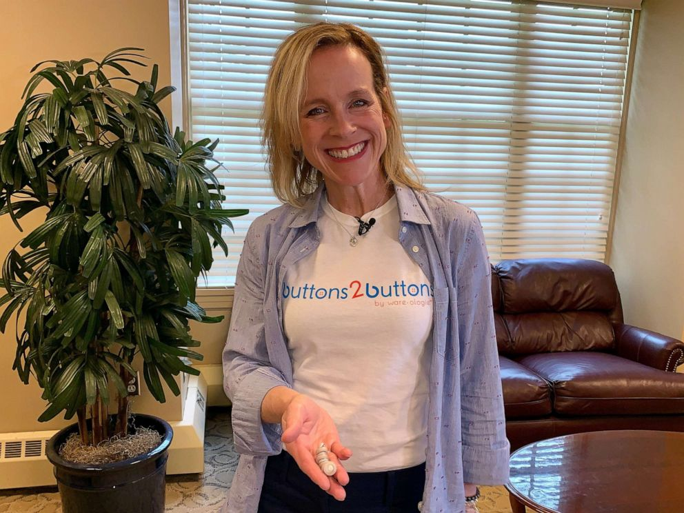 PHOTO: Wareologie founder Gina Adams holds the companys Buttons 2 Button product.
