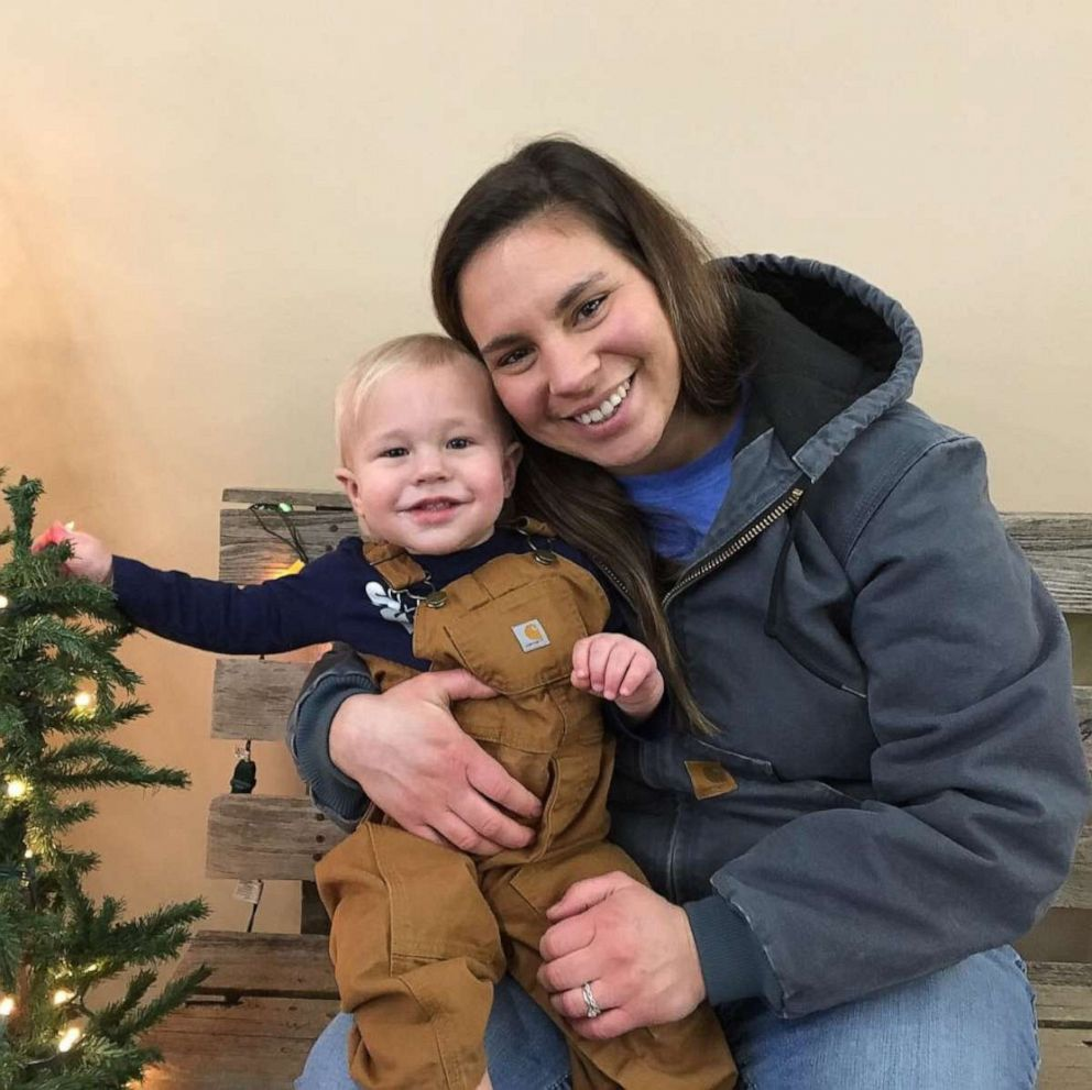 PHOTO: Halston Johnson, of Grain Valley, Mo., poses with her 19-month-old son Warren.