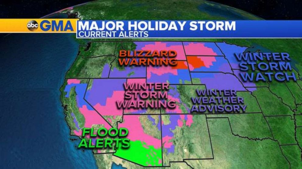 PHOTO: Twenty U.S. states, from California to Michigan, are under weather alerts Friday.