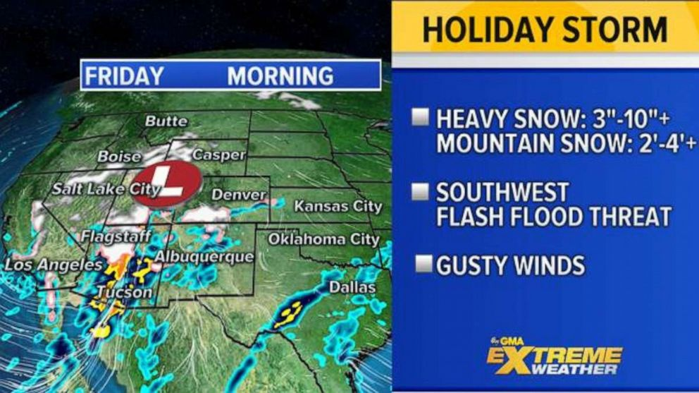 PHOTO: The storm is forecast to hit Arizona with heavy rain and potentially life-threatening flash flooding on Friday, while also dumping heavy snow across the mountains from California to Wyoming.