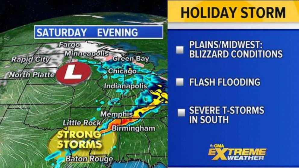 PHOTO: The storm is forecast to move into the Central U.S. by Saturday, with severe weather stretching from the Northern Plains to the Gulf Coast.