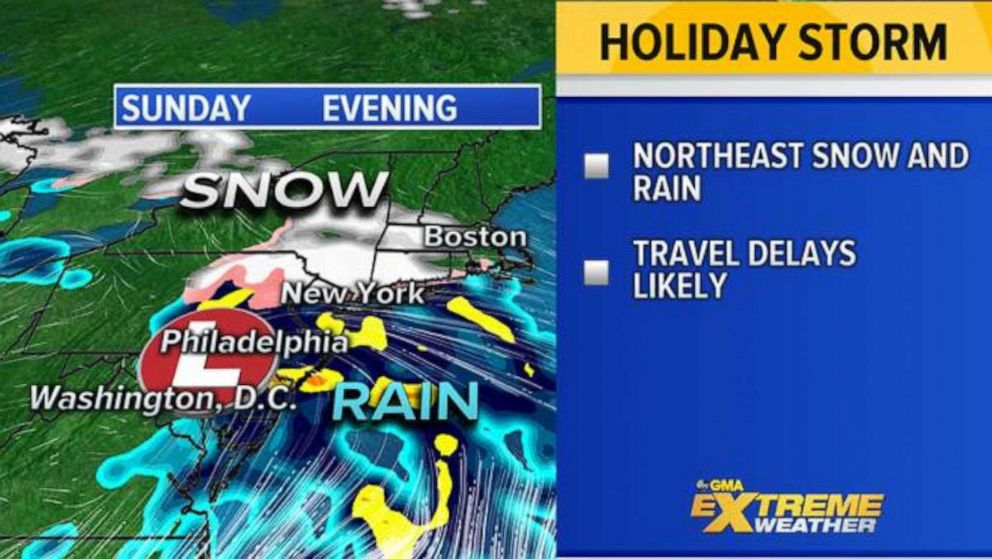 PHOTO: Some northeastern cities and suburbs, from New York City to Boston, could see wintry weather Sunday into Monday.