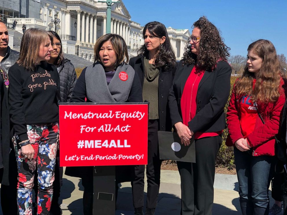 PHOTO: Congresswoman Grace Meng speaks at a press conference on Capitol Hill in March 2019 to announce the introduction of the Menstrual Equity for All Act.