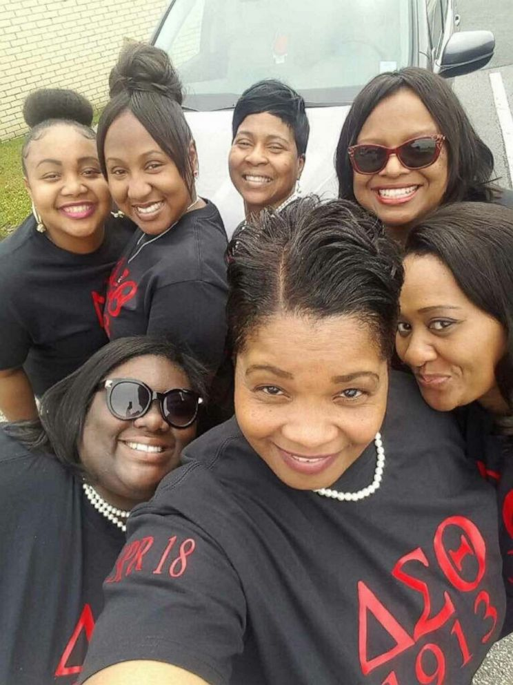 PHOTO: Michelle Lindsey poses with fellow members of Delta Sigma Theta Sorority.