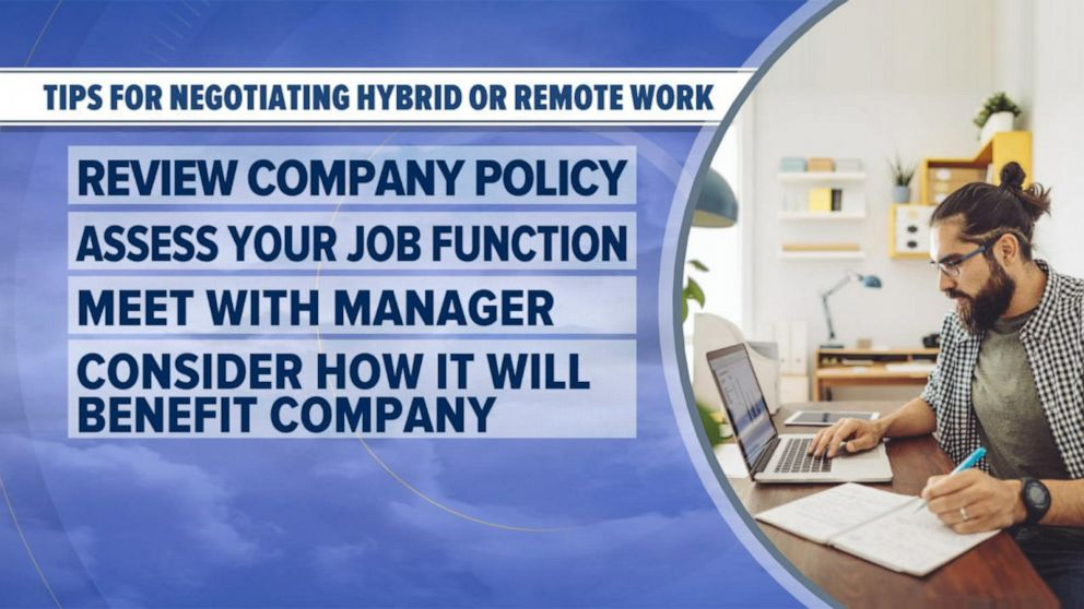 PHOTO: Tips for negotiating hybrid or remote work.
