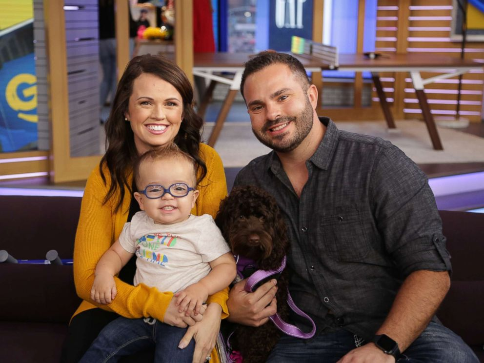 PHOTO: Roman Dinkel, 2, appears on GMA Day with his parents, Whitney and Adam Dinkel on Sept. 21, 2018.