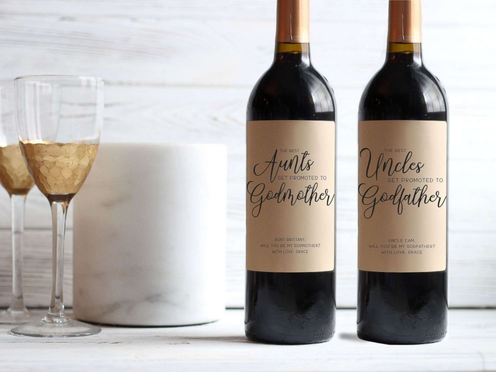 PHOTO: Wine labels with printed godparent proposals are pictured in an undated promotional image from PapersWithLove on Etsy.