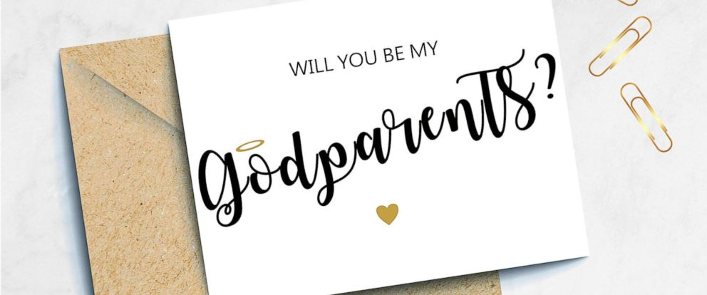 """PHOTO: A """"Will you be my Godparents?"""" proposal card is pictured from the TotalPaperBoutique Etsy store."""