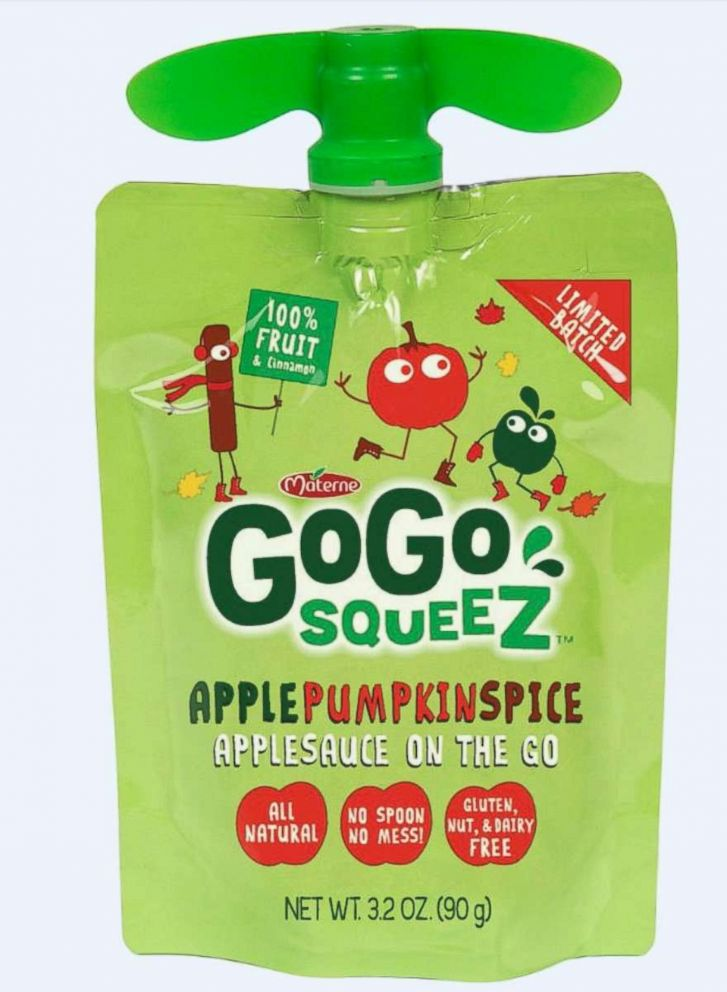 PHOTO: GoGo squeeZ apple pumpkin spice all natural on the go applesauce pouch.