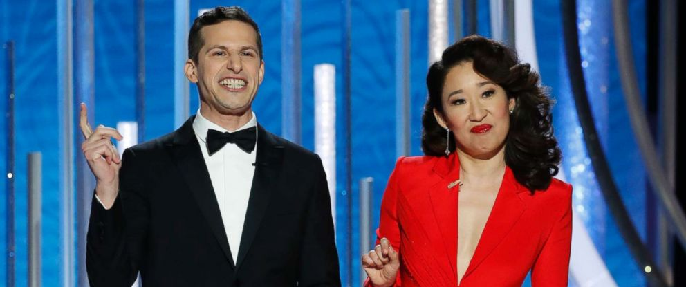 PHOTO: Hosts Andy Samberg and Sandra Oh speak onstage during the 76th annual Golden Globe awards at the Beverly Hilton Hotel, Jan. 6, 2019 in Beverly Hills, Calif.