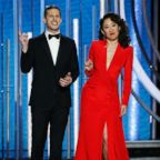 Hosts Andy Samberg and Sandra Oh speak onstage during the 76th annual Golden Globe awards at the Beverly Hilton Hotel, Jan. 6, 2019 in Beverly Hills, Calif.