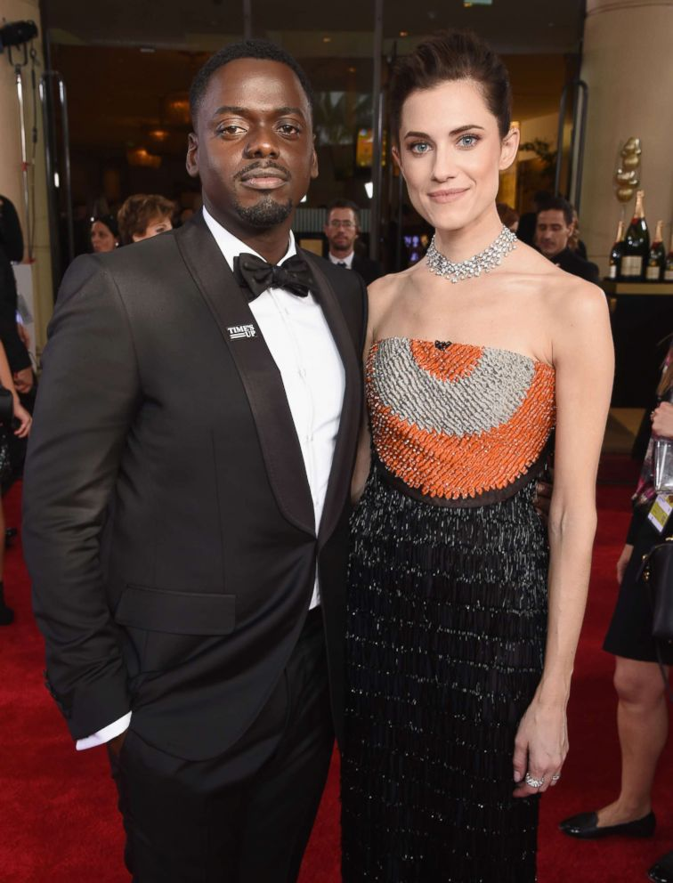 PHOTO: Actors Daniel Kaluuya and Allison Williams celebrate the 75th Annual Golden Globe Awards on Jan. 7, 2018 in Beverly Hills, Calif.