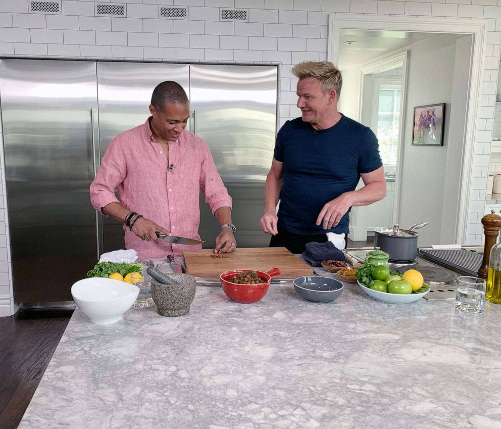 PHOTO: TJ Holmes chops dates with Gordon Ramsay for a Moroccan-inspired dish.
