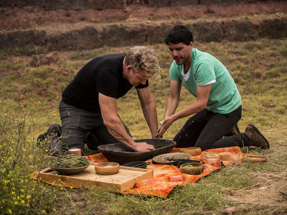 PHOTO: Gordon Ramsay and Peruvian chef and restaurateur, Virgilio Martinez, during the cook-off in Perus Sacred Valley.