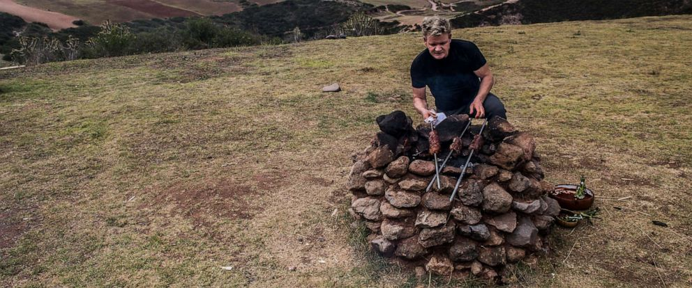 PHOTO: Gordon Ramsay cooks on an outdoor stove in Perus Sacred Valley.