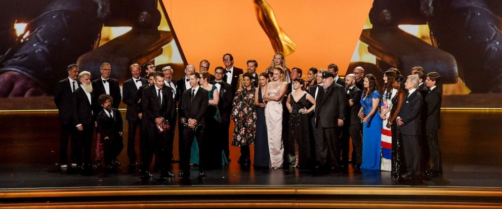 PHOTO: The Cast and crew of Game of Thrones accept the Outstanding Drama Series award onstage during the 71st Emmy Awards at Microsoft Theater on September 22, 2019 in Los Angeles, California.
