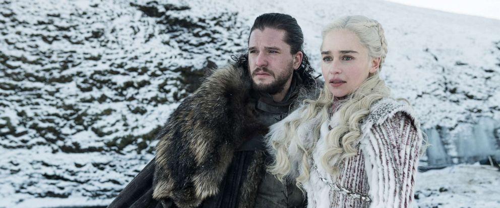 "PHOTO: Kit Harington as Jon Snow and Emilia Clarke as Daenerys Targaryen on Season 8 of ""Game of Thrones."""