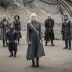 Conleth Hill, Peter Dinklage, Nathalie Emmanuel, Emilia Clarke, Liam Cunningham, Kit Harington on season 7 of Game of Thrones, 2017.