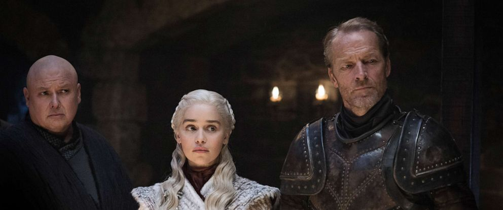 """PHOTO: Conleth Hill, Emilia Clarke and Iain Glen in a scene from """"Game of Thrones."""""""