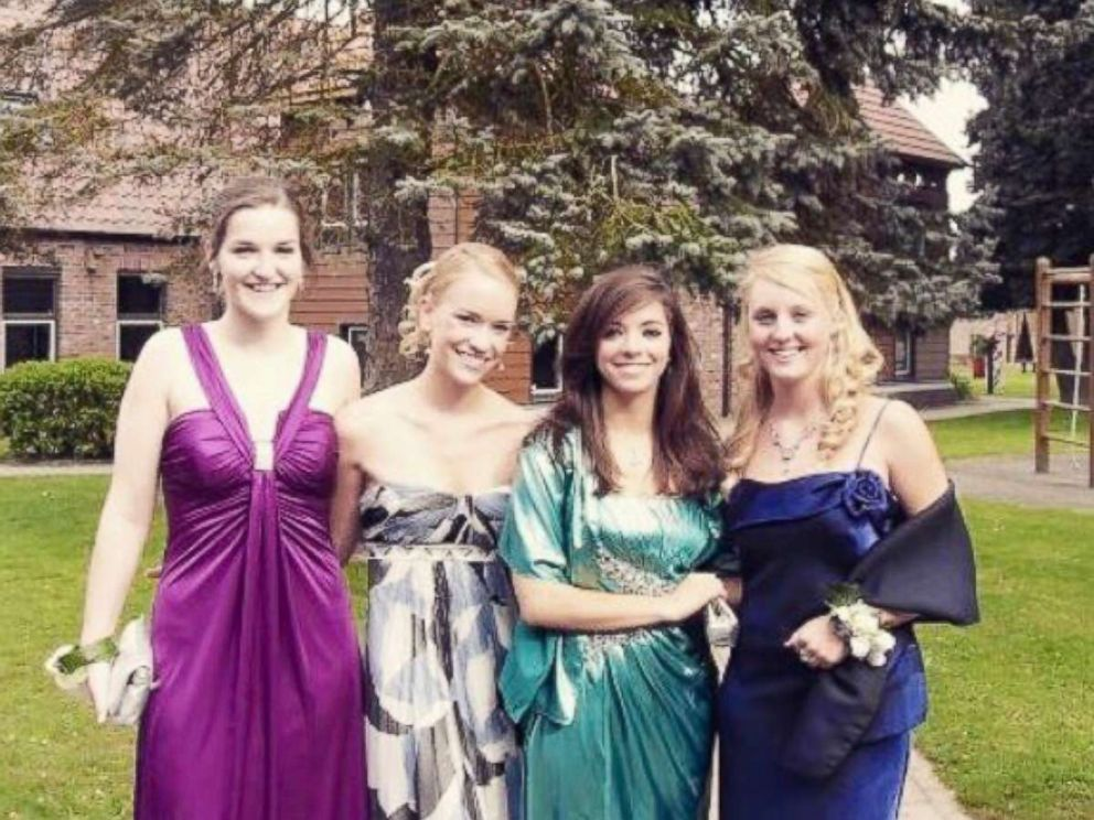 PHOTO: From left to right, Grace Baldridge of California, Ariane Harper of Canada, Cecilia Jeppsson of Chile, Juliana Bambridge of London, at their senior prom in the country of Belgium in 2009.