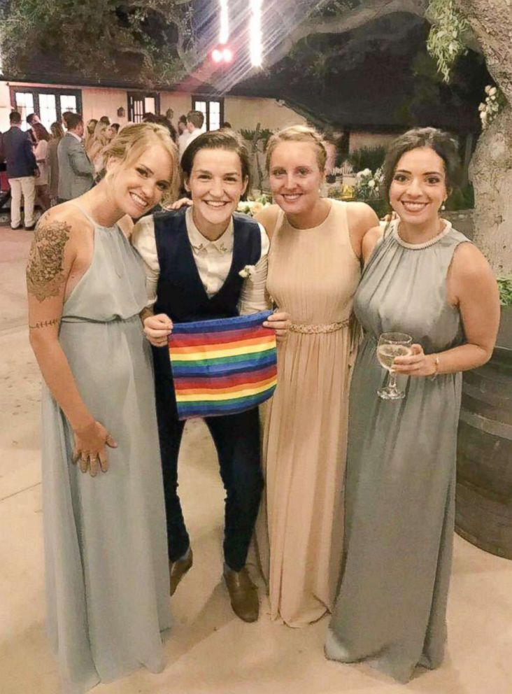 PHOTO: Childhood friends Grace Baldridge of California, Ariane Harper of Canada, Cecilia Jeppsson of Chile, Juliana Bambridge of London, are seen at Baldridges wedding in August 2018.