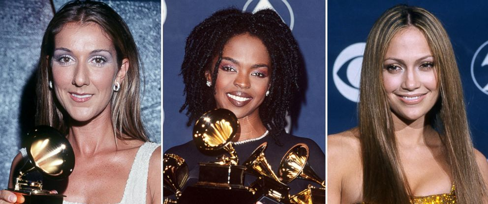 PHOTO: Celine Dion, left, Lauryn Hill and Jennifer Lopez attend the 41st annual Grammy awards, Feb. 24, 1999, in Los Angeles.