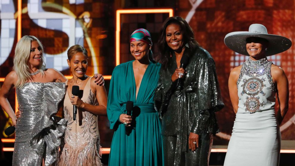 Lady Gaga, Jada Pinkett Smith, Alicia Keys, former first lady Michelle Obama and Jennifer Lopez at the 61st Grammy Awards Show in Los Angeles, Feb. 10, 2019.