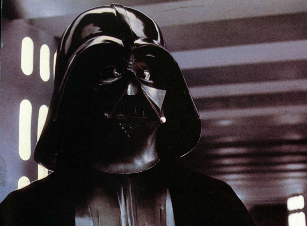 David Prowse as Darth Vader in a scene from the film Star Wars, 1977.