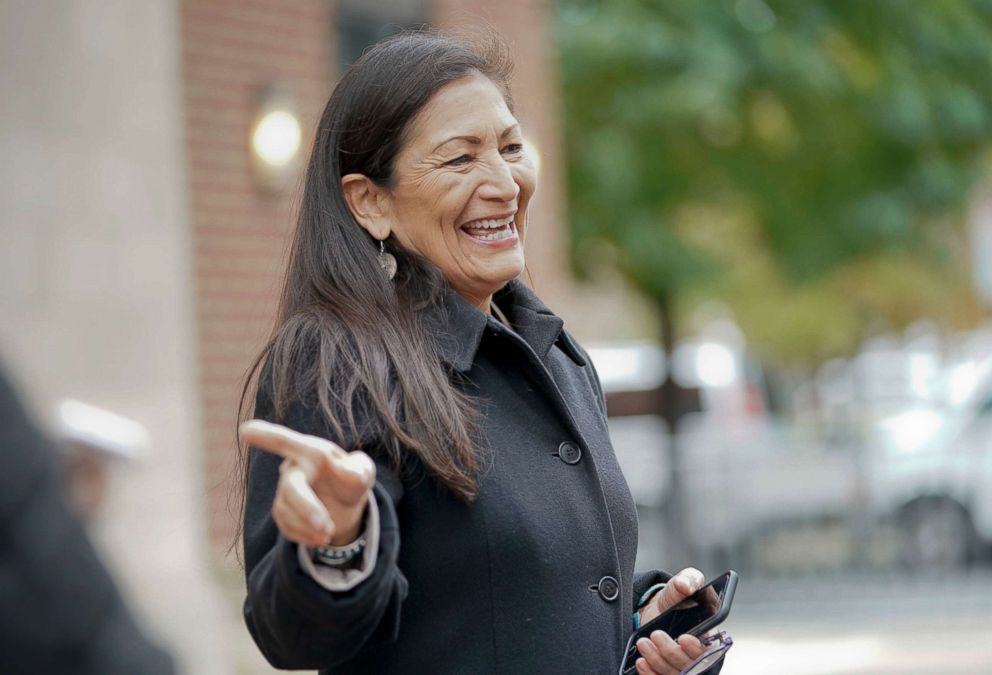 Rep.-elect Debra Haaland D-NM., points after checking-in for orientation for new members of Congress, Nov. 13, 2018, in Washington D.C.