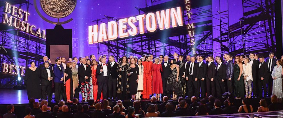 "PHOTO: The company of ""Hadestown,"" accept the award for best musical at the 73rd annual Tony Awards at Radio City Music Hall on Sunday, June 9, 2019, in New York."