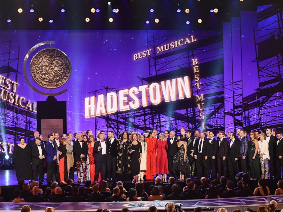 PHOTO: The company of Hadestown, accept the award for best musical at the 73rd annual Tony Awards at Radio City Music Hall on Sunday, June 9, 2019, in New York.