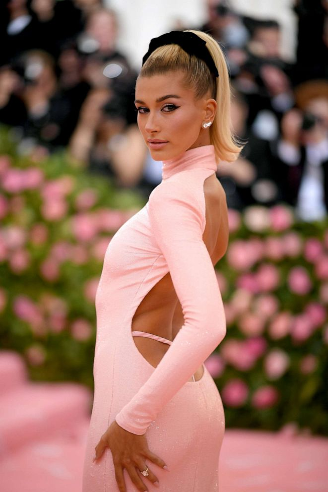 PHOTO: Hailey Bieber attends the 2019 Met Gala Celebrating Camp: Notes on Fashion at the Metropolitan Museum of Art, May 6, 2019, in New York City.