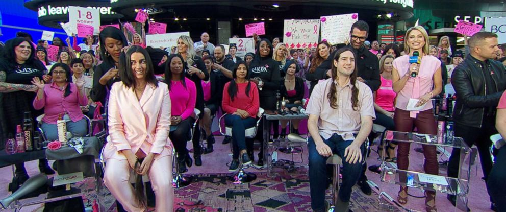 """PHOTO: People donate their hair to breast cancer survivors in a live event on """"Good Morning America,"""" Oct. 5, 2018."""