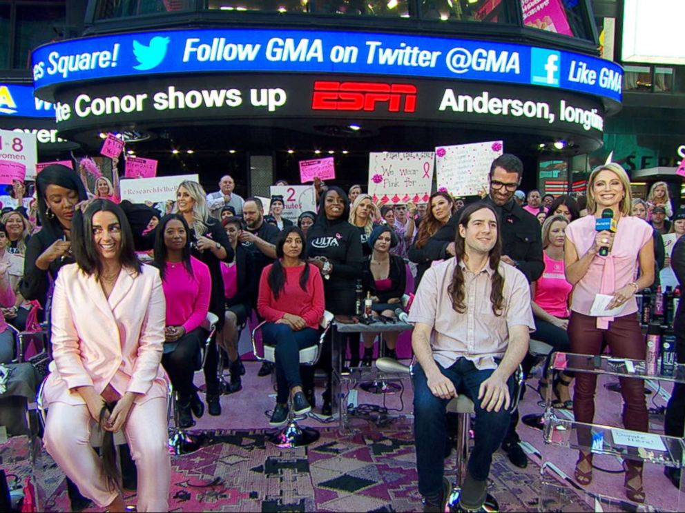 PHOTO: People donate their hair to breast cancer survivors in a live event on Good Morning America, Oct. 5, 2018.