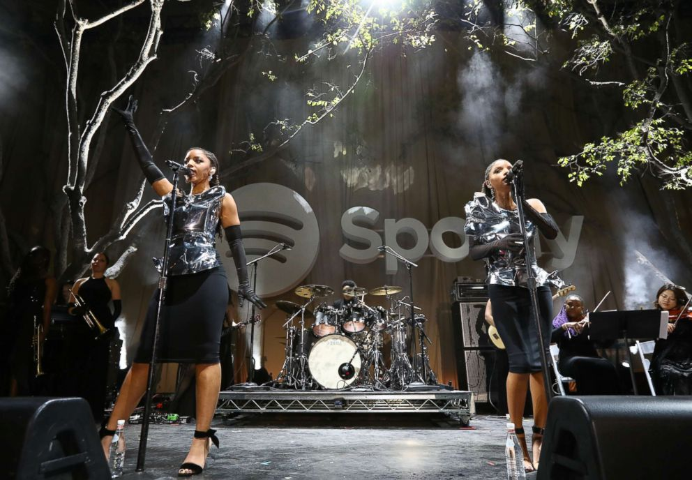 """Chloe Bailey (L) and Halle Bailey of Chloe X Halle perform onstage during Spotify """"Best New Artist 2019"""" party, Feb. 7, 2019, in Los Angeles."""