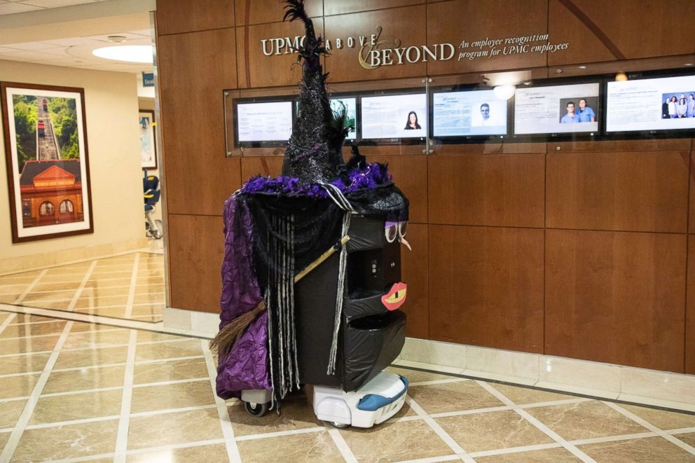 PHOTO: A TUG robot is decorated as a witch for a Halloween event at UPMC Presbyterian hospital in Pittsburgh, Oct. 26, 2018.