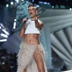 Halsey performs on the runway during the 2018 Victoria's Secret Fashion Show at Pier 94, Nov. 08, 2018 in New York.