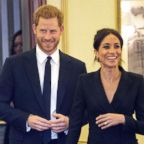 Prince Harry and Meghan, Duchess of Sussex attend a gala performance of the musical Hamilton, in London, Aug. 29 2018.