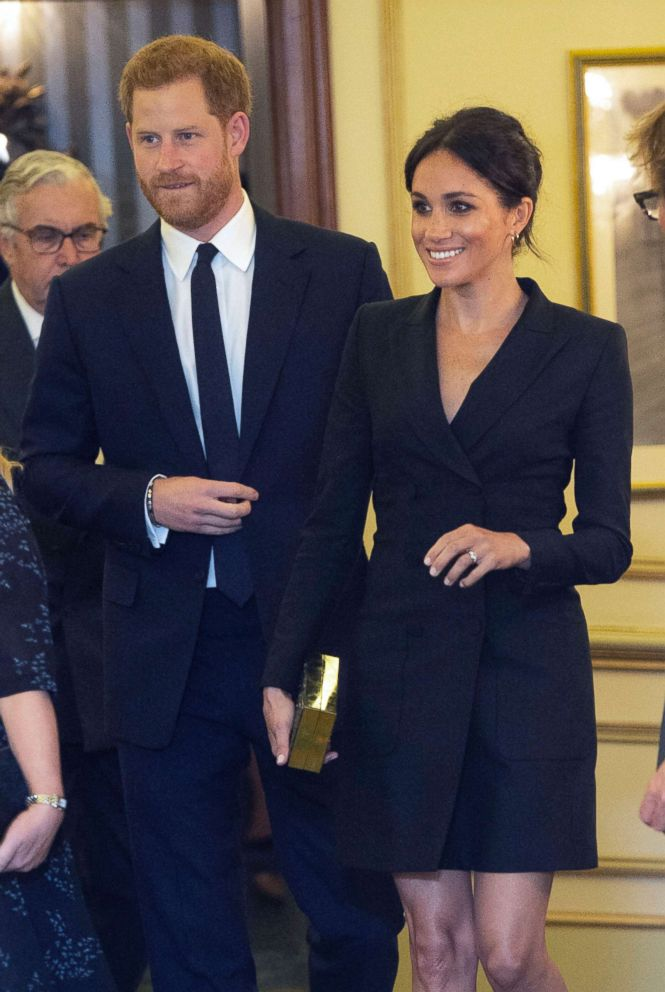 PHOTO: Prince Harry and Meghan, Duchess of Sussex attend a gala performance of the musical Hamilton, Aug. 29 2018.