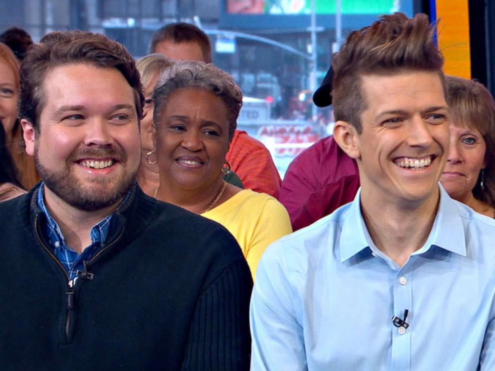 PHOTO: Pieter Hanson and Jon Hanson appear on GMA to discuss their viral Twitter response to their moms tweet about #HimToo.