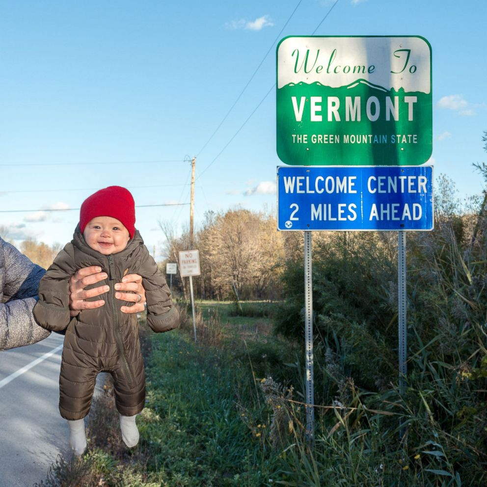 PHOTO: Harper Yeats crosses the border of Vermont -- making the Green Mountain State the 50th and final destination on what has been a 4-month road trip across the United States.