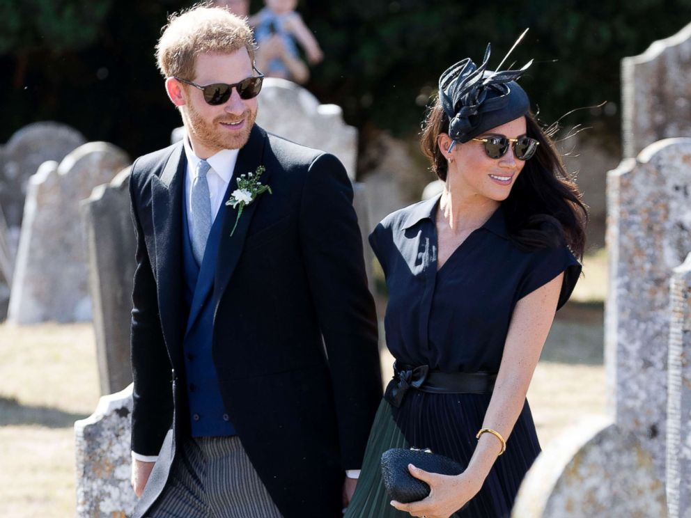 PHOTO: Prince Harry and Duchess Meghan Markle leave the wedding of Charlie Van Straubenzee and Daisy Jenks in Frensham ,U.K., Aug. 4, 2018.