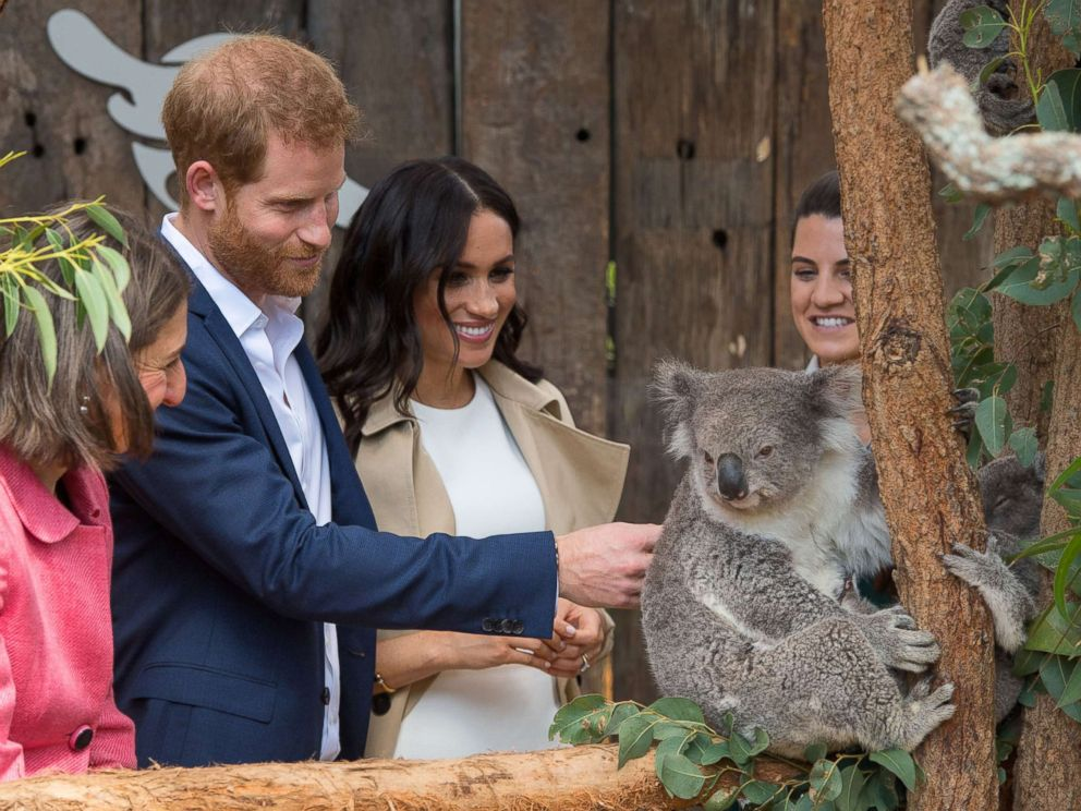 PHOTO: The Duke and the Duchess of Sussex meet with a Koala named Ruby during a visit to the Taronga Zoo in Sydney on the first day of the royal couples' visit to Australia on October 16, 2018.