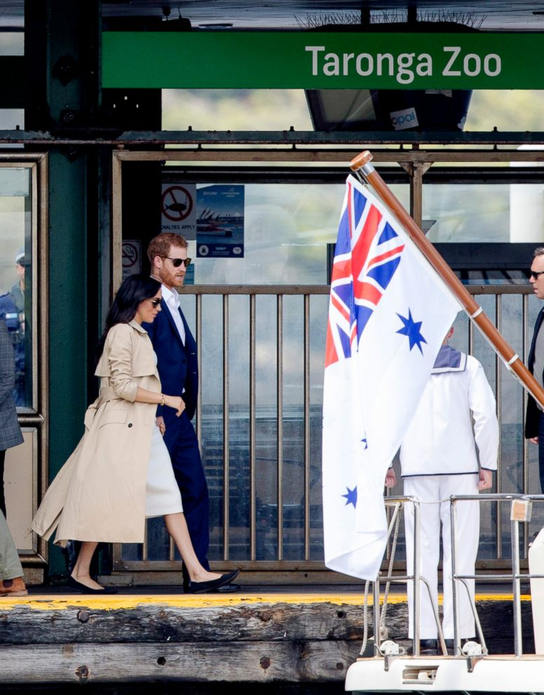 PHOTO: Prince Harry and Meghan Markle, the Duke and the Duchess of Sussex, take a boat ride from the Taronga Zoo to the Sydney Opera House in Sydney on October 16, 2018.