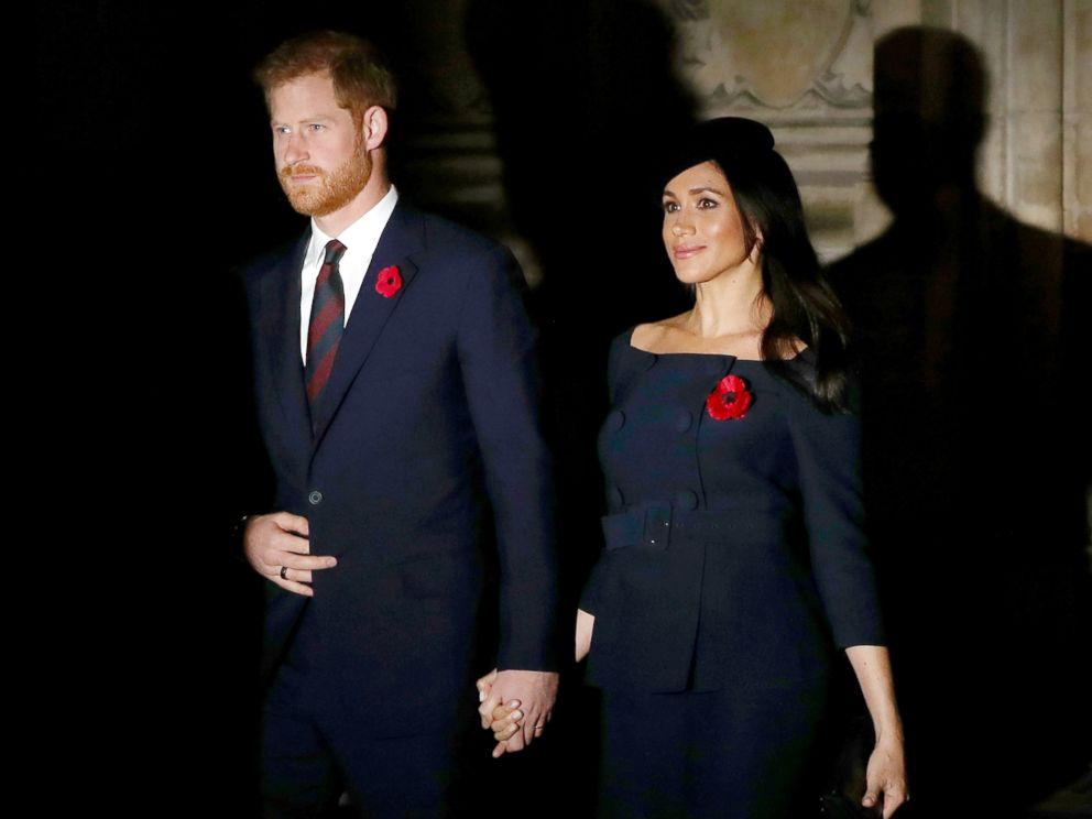 PHOTO: The Duke and Duchess of Sussex leave Westminster Abbey in London following a National Service to mark the centenary of the Armistice, Nov. 11, 2018, in London.