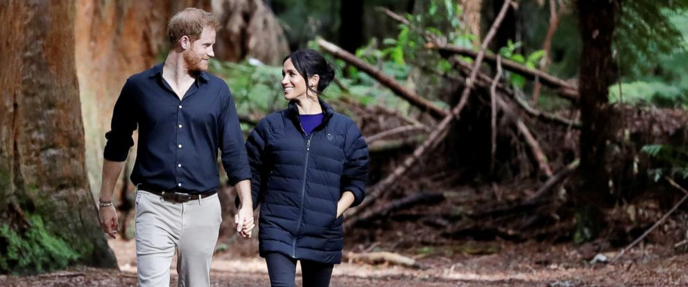 PHOTO: Britains Prince Harry and Meghan Markle, Duchess of Sussex walk through a Redwoods forest in Rotorua, New Zealand, Oct. 31, 2018.
